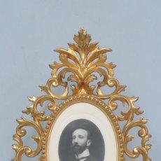 Antigüedades: GRAN MARCO DE MADERA TALLADA Y CALADA EN PAN DE ORO. SIGLO XIX . Lote 147464598