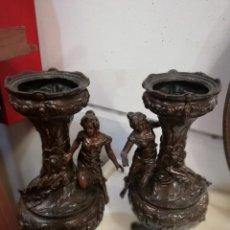 Antigüedades: PAREJA DE JARRONES DE CALAMINA ANTIGUOS FINALES SIGLO XIX. Lote 147474578