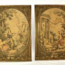 Antigüedades: BELLA PAREJA DE TAPICES GOBELINOS FRANCESES. ESCENAS ROMÁNTICAS. FINES S XIX A PPS S XX. Lote 142664598