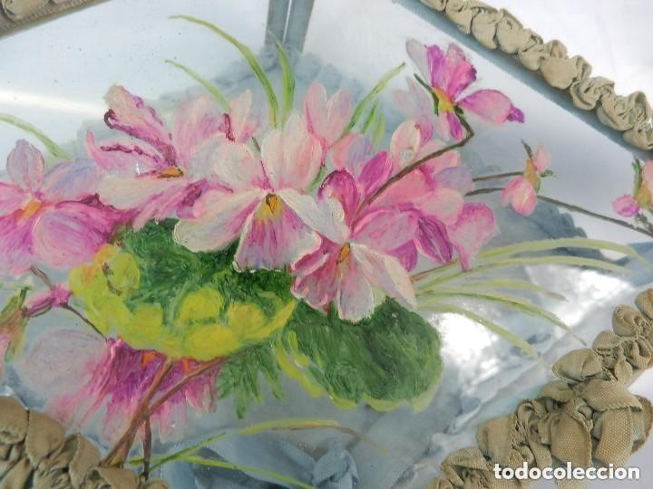 Antigüedades: Joyero caja de tocador guantes victoriano en cristal seda y pintura manual sobre cristal- S XIX. - Foto 3 - 147475862