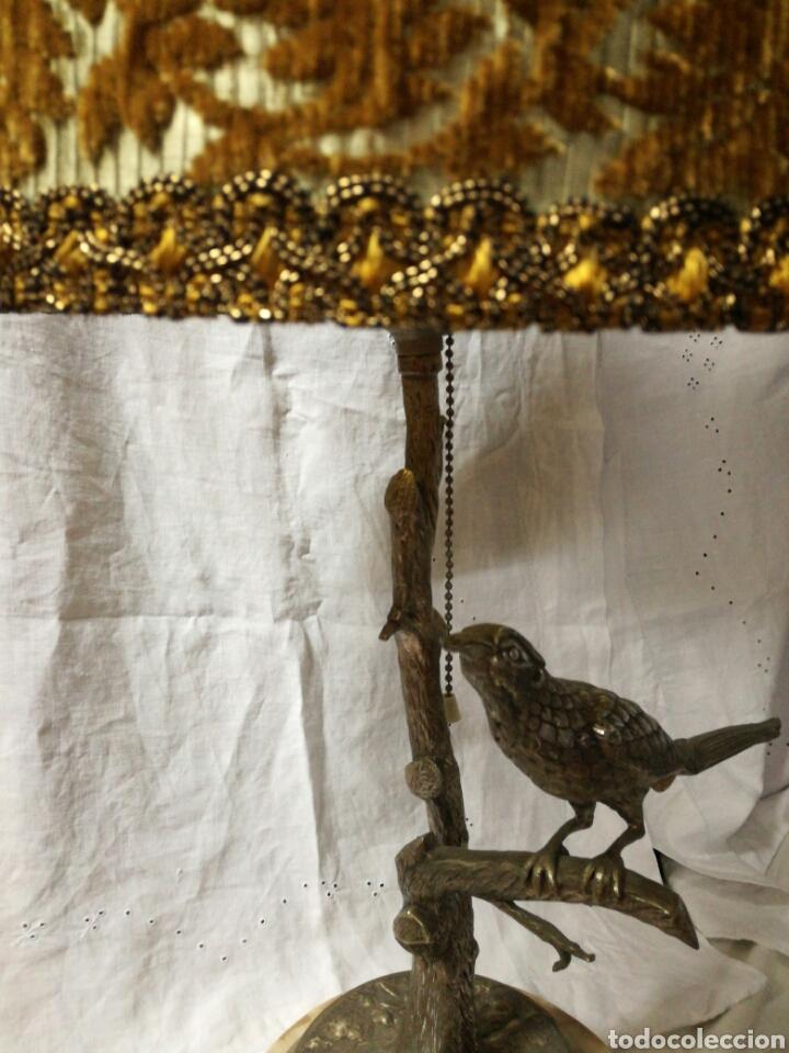 Antigüedades: Lampara sobremesa base de mármol y pie metal plateado - Foto 3 - 147476901