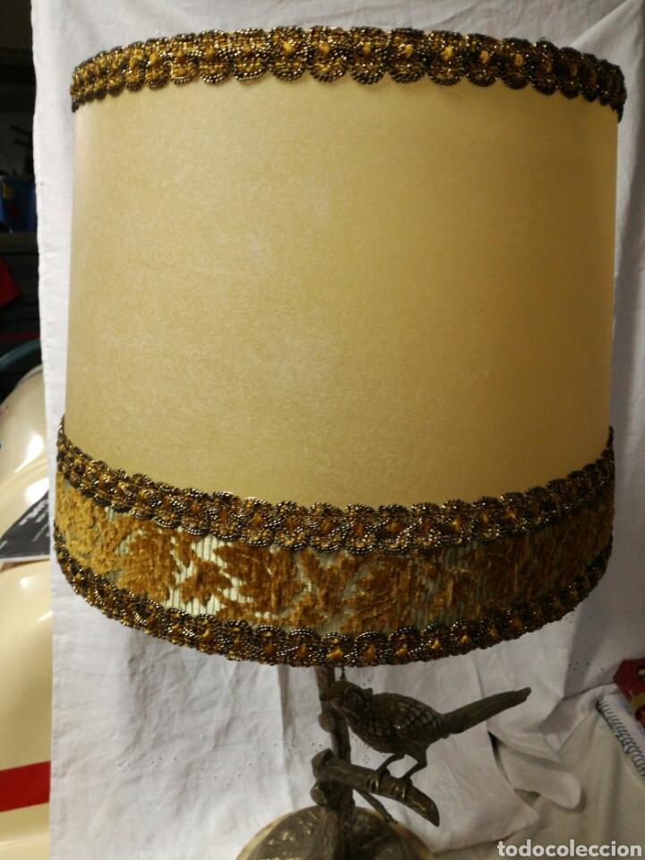 Antigüedades: Lampara sobremesa base de mármol y pie metal plateado - Foto 4 - 147476901