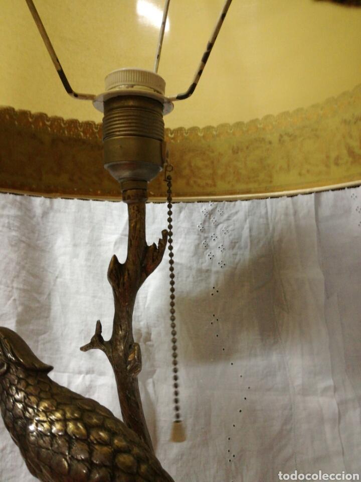 Antigüedades: Lampara sobremesa base de mármol y pie metal plateado - Foto 5 - 147476901