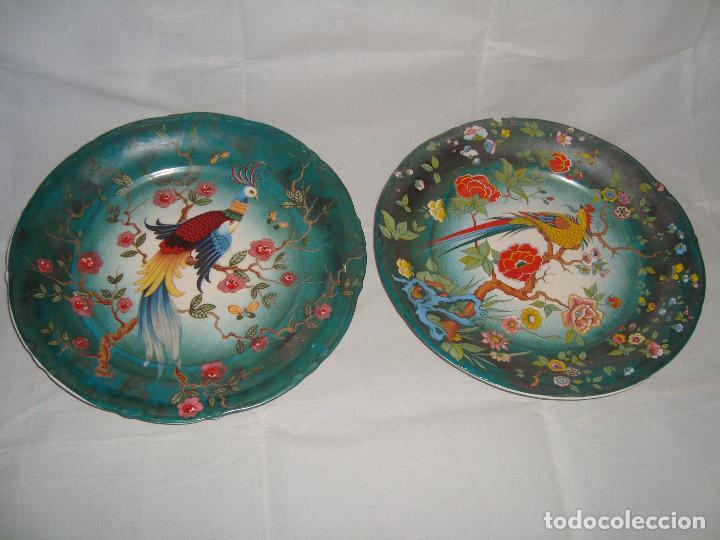 ESPECTACULAR PAREJA DE PLATOS DE PORCELANA CHINA (Antigüedades - Porcelanas y Cerámicas - China)