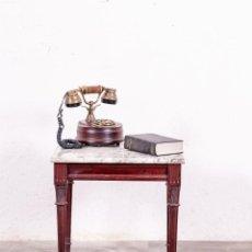 Antigüedades: MESA AUXILIAR ANTIGUA DE MADERA Y MÁRMOL. Lote 147494222