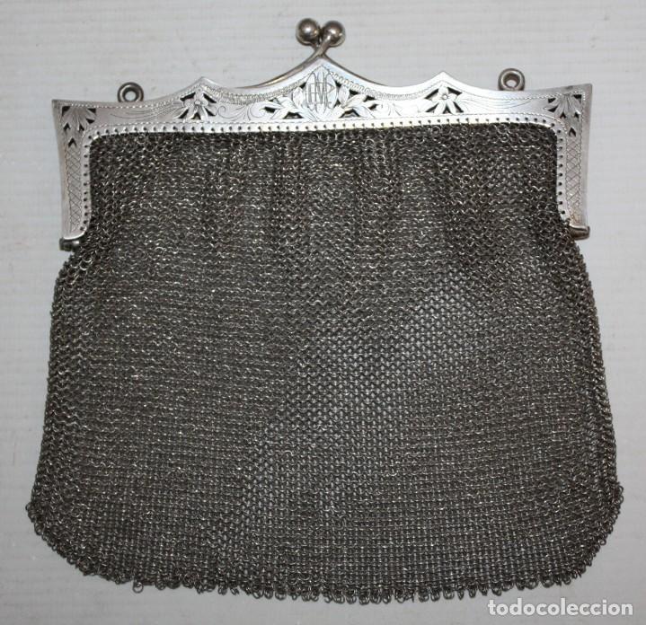 BOLSO-MONEDERO DE PLATA-800-MODERNISTA-14,5 X 15 CM. (Antigüedades - Moda - Bolsos Antiguos)