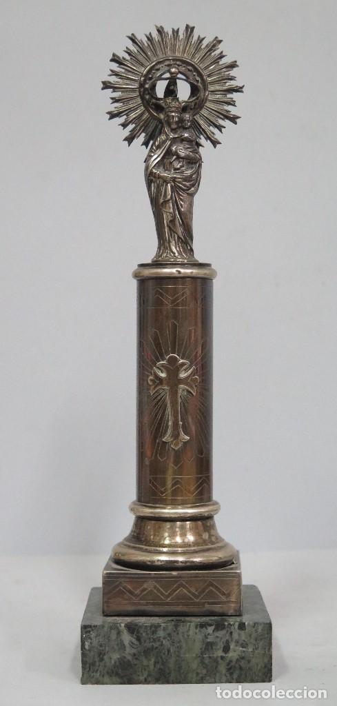VIRGEN DEL PILAR DE PLATA. PLATERO RUIZ (Antigüedades - Religiosas - Orfebrería Antigua)