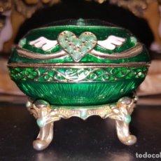 Antigüedades - Decoración Vintage Huevo Lacado Caja Joyero Pieza de Colección - 147536598