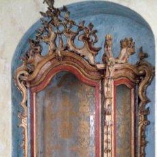 Antigüedades: ESPECTACULAR HORNACINA, CAPILLA U ORATORIO BARROCO POLICROMADO. Lote 147565710