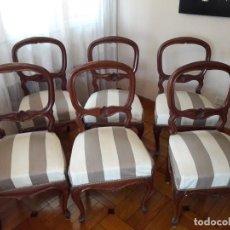Antigüedades: JUEGO DE SEIS SILLAS DE COMEDOR. Lote 147570894