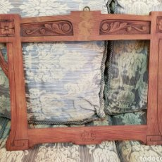 Antigüedades: ANTIGUO MARCO ART NOVEAU MODERNISTA EN MADERA TALLADA A MANO 60 CM X 48 CM ESPEJO CUADRO. Lote 147579292