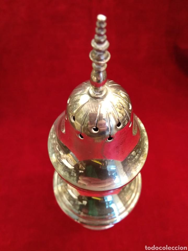 Antigüedades: Azucarero inciensario de metal plateado - Foto 3 - 147590581