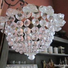 Antigüedades: LAMPARA DE TECHO BRONCE Y CRISTAL.. Lote 147597670