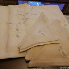 Antigüedades: MANTELERI DE SEIS SERVICIOS. BORDADA. Lote 147625042