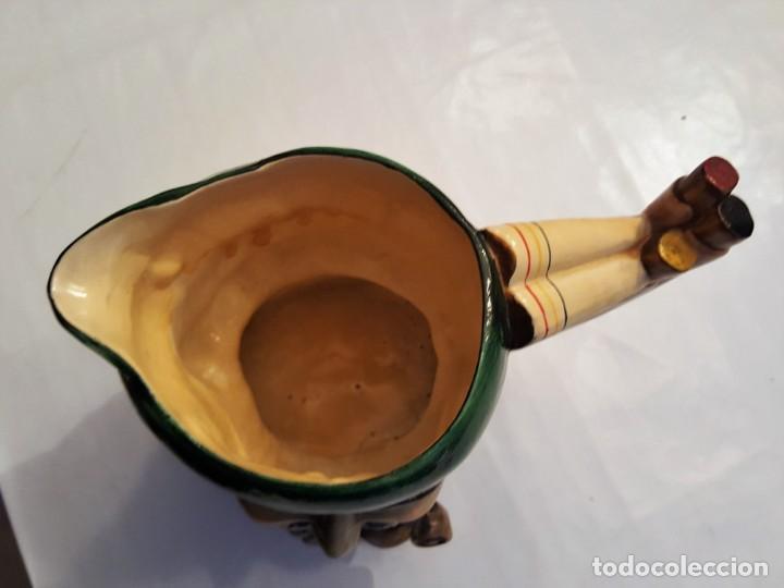 Antigüedades: f 1736 ANTIGUA JARRA DE CABEZA ROSTRO CON PIPA DE PORCELANA HECHA Y PINTADA A MANO 17 cm - Foto 5 - 147632098