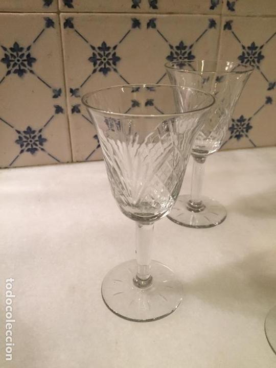 Antigüedades: Antiguas 6 copa / copas de cristal tallado a mano de los años 30-40 - Foto 2 - 147632730