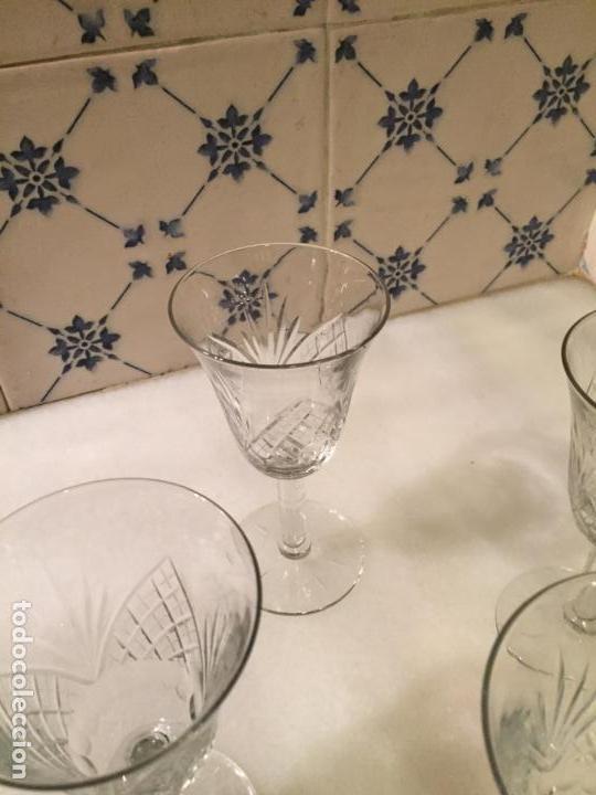 Antigüedades: Antiguas 6 copa / copas de cristal tallado a mano de los años 30-40 - Foto 3 - 147632730
