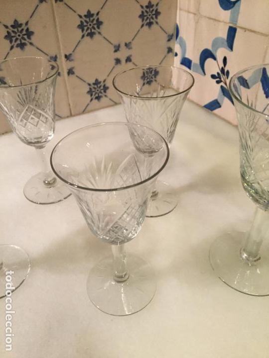 Antigüedades: Antiguas 6 copa / copas de cristal tallado a mano de los años 30-40 - Foto 4 - 147632730