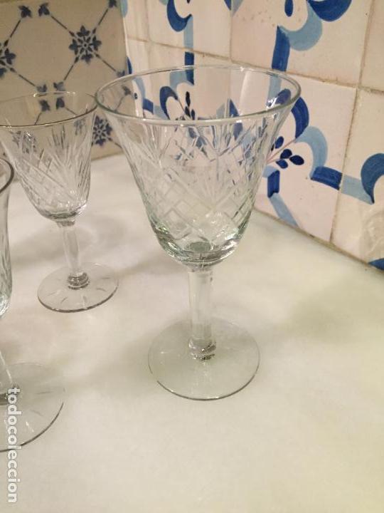 Antigüedades: Antiguas 6 copa / copas de cristal tallado a mano de los años 30-40 - Foto 5 - 147632730