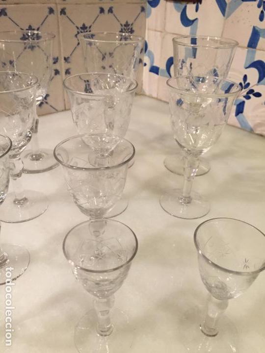 Antigüedades: Antiguas 11 copa / copas de cristal tallado a mano de los años 30-40 - Foto 3 - 147633330