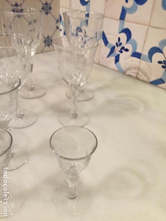 Antigüedades: Antiguas 11 copa / copas de cristal tallado a mano de los años 30-40 - Foto 4 - 147633330