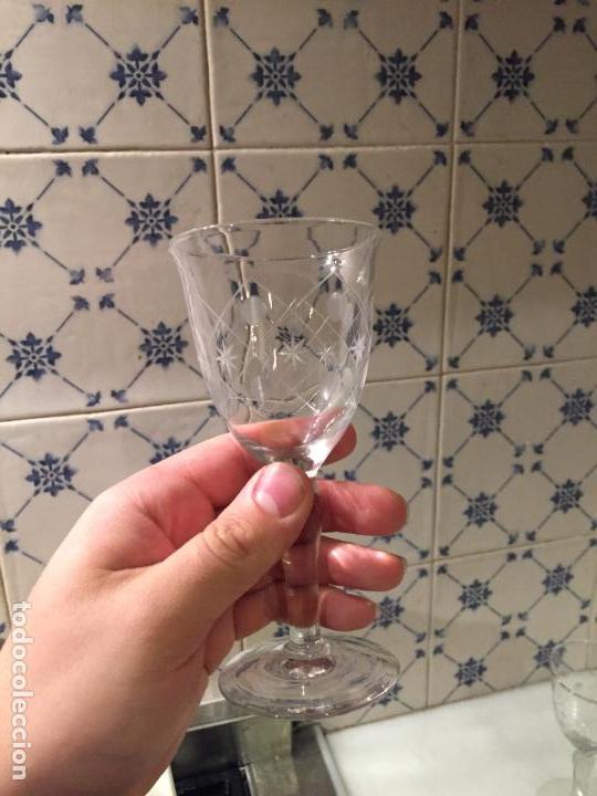 Antigüedades: Antiguas 11 copa / copas de cristal tallado a mano de los años 30-40 - Foto 20 - 147633330