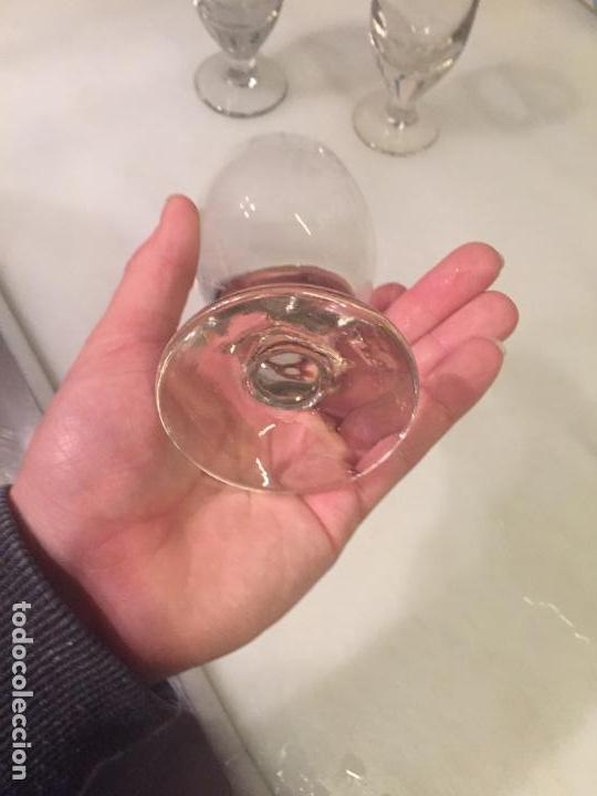 Antigüedades: Antiguos 3 vaso / vasos de cristal soplado a mano de café o bar de los años 30-40 - Foto 7 - 147636322