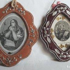 Antigüedades: 2 RELICARIOS EN TELA BORDADOS CON GRABADO DE LA MARIA MAGDALENA Y SAN VICENTE FERRER. . Lote 147636882