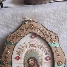 Antigüedades: RELICARIO BORDADO RELIQUIAS PIEDREDITAS DEL MONTE OLIVOS FRAGELACIÓN PRENDIMIENTO ECCE HOMO . Lote 147655914