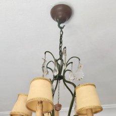 Antigüedades: LAMPARA TECHO FORJA LAGRIMAS CRISTAL VINTAGE CON 5 LUCES. Lote 147657702