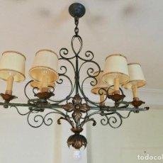 Antigüedades: LAMPARA TECHO FORJA VINTAGE CON 7 LUCES. Lote 147657906