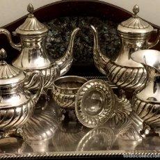 Antigüedades: MAGNIFICO JUEGO DE CAFÉ Y TÉ DE ALPACA - 6 PIEZAS - SELLADO.. Lote 147658370