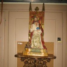 Antigüedades: ANTIGUA FIGURA DE CORAZÓN DE JESUS CON SOPORTE. PASTA MADERA CON ESCAYOLA. SOPORTE MADERA ESTUCADA. Lote 147658598