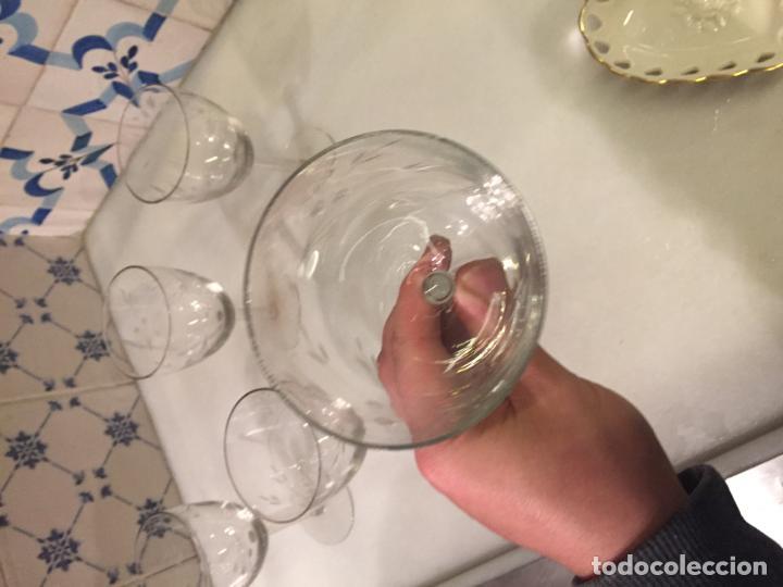 Antigüedades: Antiguas 5 copa / copas de cristal soplado y tallado a mano con motivos florales años 20-30 - Foto 16 - 147659130