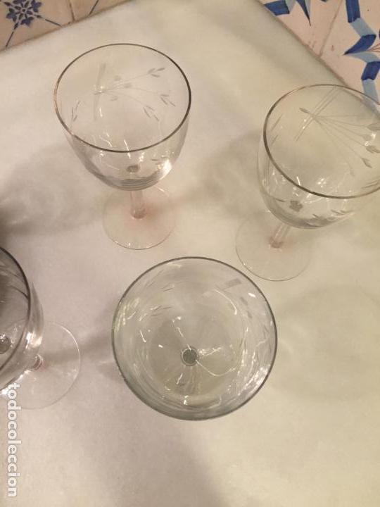 Antigüedades: Antiguas 5 copa / copas de cristal soplado y tallado a mano con motivos florales años 20-30 - Foto 18 - 147659130
