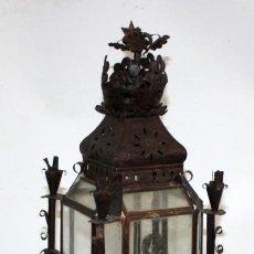 Antigüedades: PRECIOSO FAROL DE CARBURO Y CON PIE ARTESANAL EN HIERRO. CONJUNTO MUY ORIGINAL. Lote 147681090