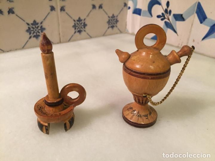 ANTIGUA FIGURA / FIGURAS DE MADERA TORNEADA DE VELA Y BOTIJO ESTANY DE BANYOLES DE LOS AÑOS 60-70 (Antigüedades - Hogar y Decoración - Figuras Antiguas)