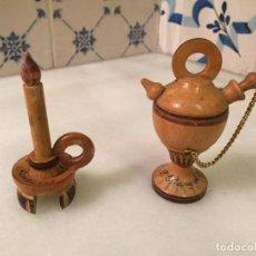 Antigüedades: ANTIGUA FIGURA / FIGURAS DE MADERA TORNEADA DE VELA Y BOTIJO ESTANY DE BANYOLES DE LOS AÑOS 60-70. Lote 147739854