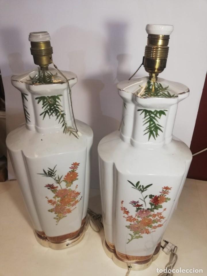 Antigüedades: PAREJA DE LAMPARAS SOBREMESA EN PORCELANA - Foto 9 - 147751822