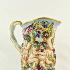 Antigüedades: GRAN JARRA BACANAL CAPODIMONTE. PAN DE ORO.GRAN JARRA DE LOZA,. Lote 147751902