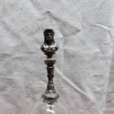 Antigüedades: CAMPANA DE CRISTAL MANGO ANTROPOMORFO METALICO,.... Lote 147752438