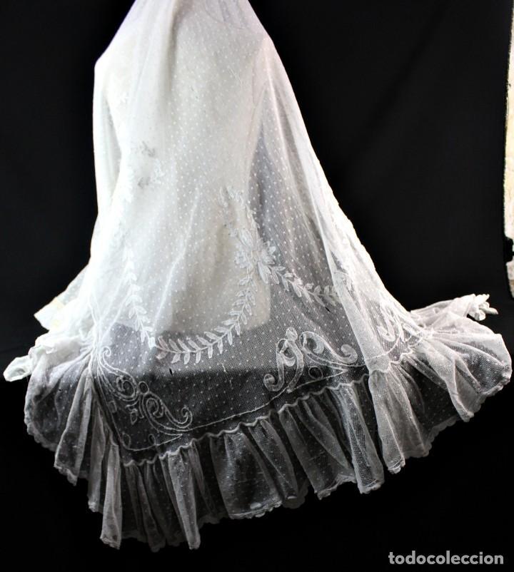 Antiquitäten: 79 Cortina lateral de encaje manual todo bordado a mano pps s XX para uso o indumentaria - Foto 7 - 147756886