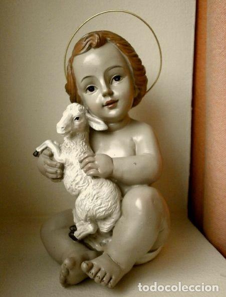 FIGURA NIÑO JESUS CON CORDERO DE CERAMICA O RESINA - MIDE 14 CM ALTO (Antiquitäten - Religiöse - Andere religiöse Antiquitäten)