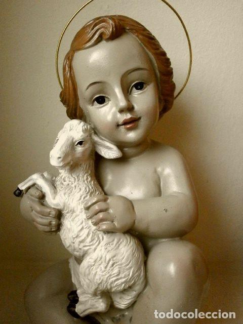Antiquitäten: FIGURA NIÑO JESUS CON CORDERO DE CERAMICA O RESINA - MIDE 14 CM ALTO - Foto 4 - 147758414
