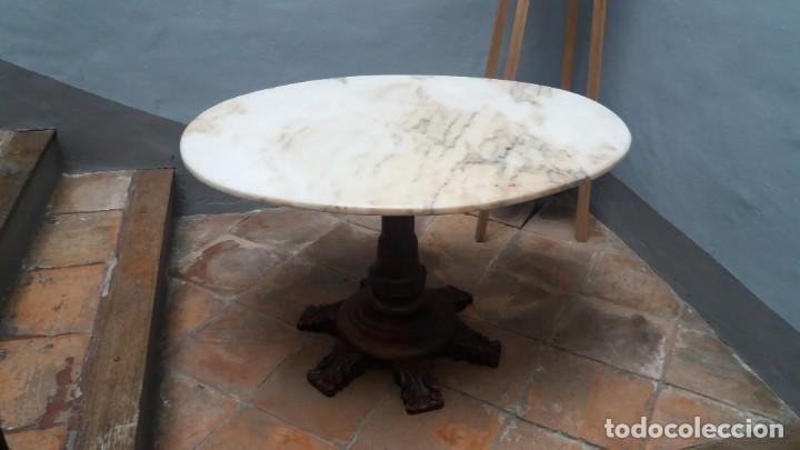 MESA OVALADA CON TAPA DE MARMOL (Antigüedades - Muebles Antiguos - Mesas Antiguas)