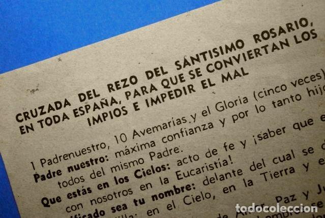 Antigüedades: Folleto: CRUZADA DEL REZO DEL SANTISIMO ROSARIO EN TODA ESPAÑA PARA QUE SE CONVIERTAN LOS IMPIOS - Foto 2 - 147761722