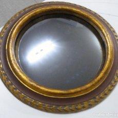 Antigüedades: ANTIGUO ESPEJO ADIVINACIÓN REDONDO NEGRO CÓNCAVO MARCO DE MADERA PAN DE ORO BUEN ESTADO COLECCIÓN. Lote 147764318