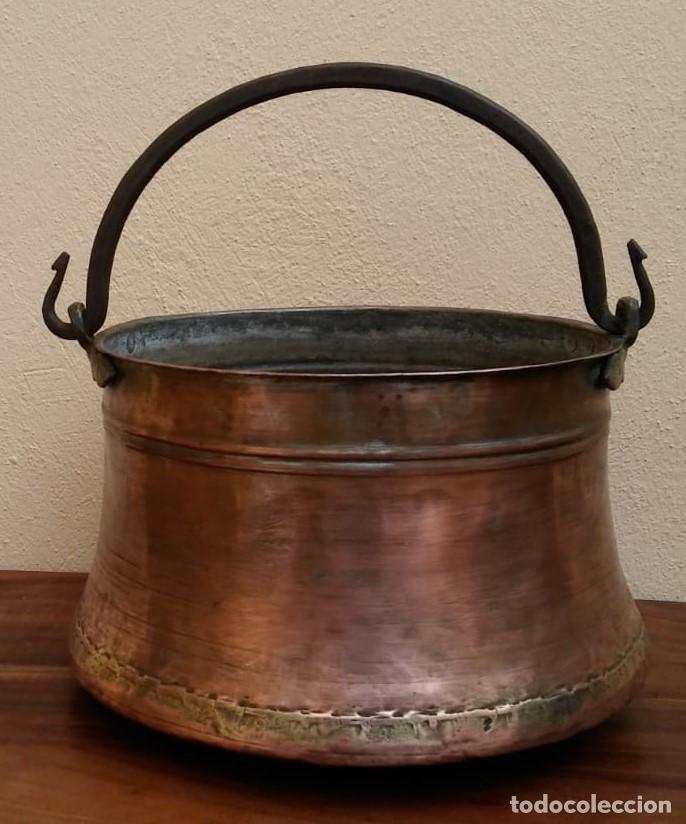 ANTIGUA OLLA O CALDERO DE COBRE (Antigüedades - Técnicas - Rústicas - Utensilios del Hogar)