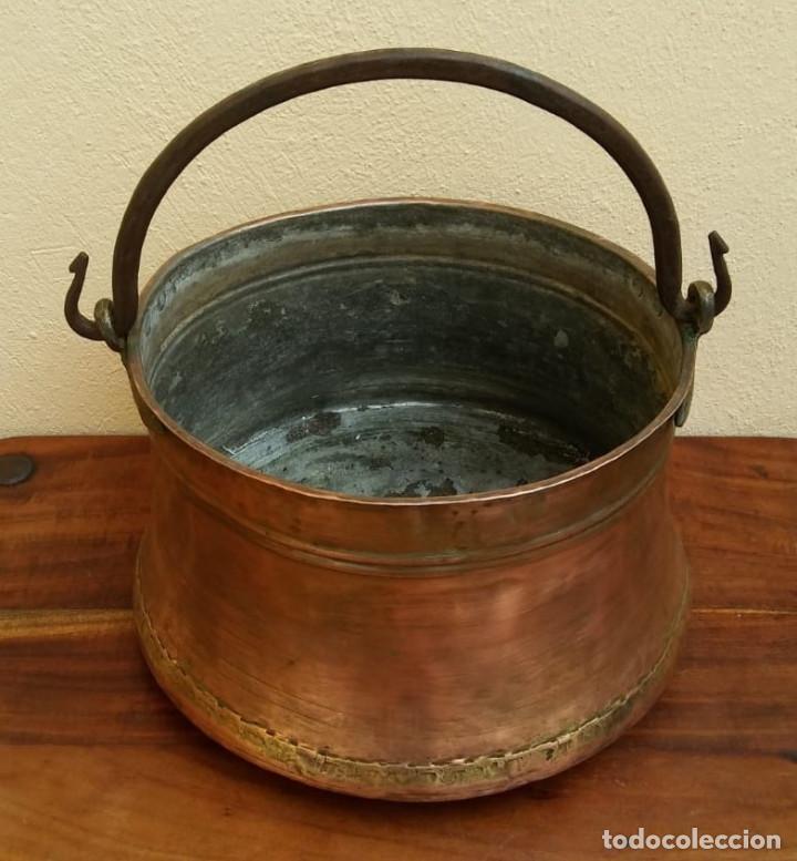 Antigüedades: ANTIGUA OLLA O CALDERO DE COBRE - Foto 2 - 147766454