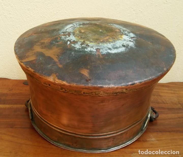 Antigüedades: ANTIGUA OLLA O CALDERO DE COBRE - Foto 6 - 147766454